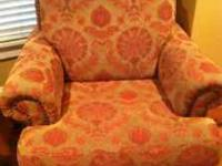 Great Pair of red & gold demask nail head chairs $50