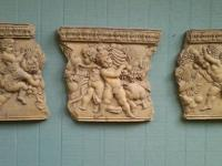 Grecian Temple Style Wall Carvings in Base Relief,