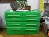 Green 8 Drawer Chest, Solid Wood With Brass Label