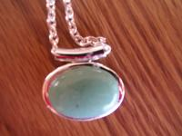 This Necklace has a natural stone Green Aventurine.