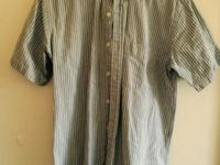 Green/Blue/Brown Vertical Striped Button Up Old College