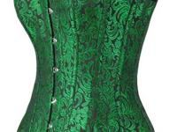 This is a green Brocade waist training over-bust