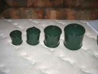 green canister set small to large 4 pice set great