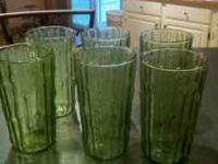 I have 6 green glasses very beautiful and thin . $10.00