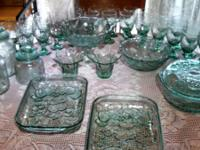 Green glassware with fruit pattern:  24- wine glasses