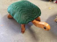 Cute Green & wood turtle stool Best offer. Buyer to