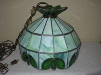 Gorgeous hanging light/lamp with leaded green slag