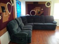 Up for sale is a green gorgeous design sectional couch