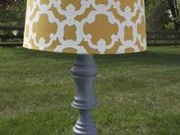 Hardwood table lamp, refurbished and painted with