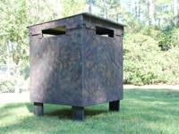 Ground blind/box stand with swivel back chair. Light