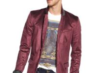 A satiny sheen makes this corduroy blazer from GUESS