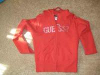 GUESS red zip up hoodie LARGE worn maybe once or twice.