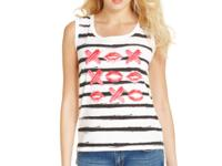 Stripes and a kisses print makes this GUESS tank a