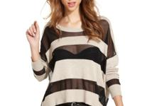 Sheer stripes make this GUESS sweater a hot fall