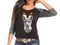 A fox print with gold bunny ears adds an irreverent