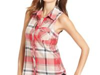 Studs and rhinestones add glam to this GUESS plaid top