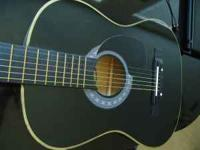 "New condition, black Acoustic Guitar (38"") 6"