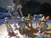 Gundam figure's, 5 smaller size and one large and lots