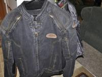 Nice Denim Blue Motorcycle Jacket. Body Armor and Zip