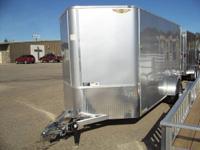 NEW H&H 6X12 V-Nose Enclosed Aluminum Frame Trailer.