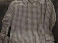 Very nice men's brown plaid long-sleeved shirt by