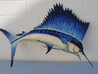 Haitian/Caribbean painted metal wall art ALL SALTWATER
