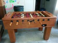 Super solid, good as new Halex foosball table.  Cost