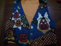 Handmade Halloween girls vest size medium. Three