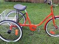"3 Wheel Bicycle. Adult 24"" Miami Sun. Single Speed with"