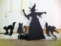 Halloween witch and 3 cats, life size wooden silhouette