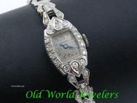 Lady's platinum diamond Hamilton wristwatch Circa