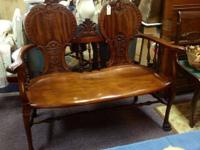 "Minimized ~ Was $625 ~ Gorgeous Hand Carved Sofa. 47""w"