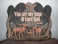 Beautiful hand-carved wooden Bible verses, has animals