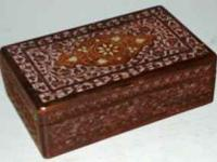 Very nice hand carved box with mother of pearl inlay