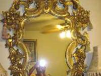 Mirror --- Hand Carved wood----Made in Italy----H 52 x