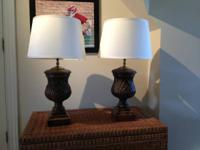 beautiful carved wood lamps. originally purchased from