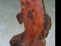 HAND CARVED REDWOOD FISH H 28'' W 13'' ASKING $150.00