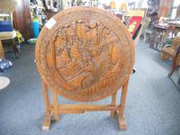 Solid oak wood hand carved table. Beautiful ornate