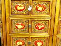 This tall hand made Tibetan cabinet came from a little