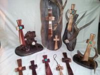 hand crafted cedar wood and antler/stone pieces for the