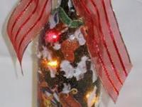 Hand Decorated - Christmas Lighted Wine Bottle -