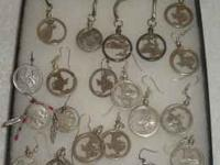 HAND MADE EARINGS AND KEY CHAINS MADE FROM U.S. COINS.