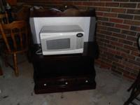 Hand made pine microwave cabinet or TV stand $40,