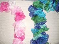 Hand made crocheted ruffle scarfs from the Smoky