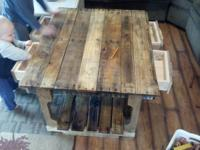 "hand made table 40""x35""x 21""high ...has four drawers"