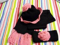 Weaved and crocheted hats, scarf and head bands in