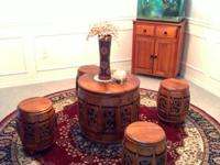 All hand-made wooden tea table set, beautifully and