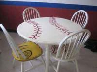 This table is for the baseball fan!! Hand painted round