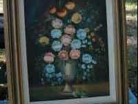 Purchased hand painted flower picture with frame.