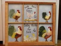 Hand painted chicken picture on old window
